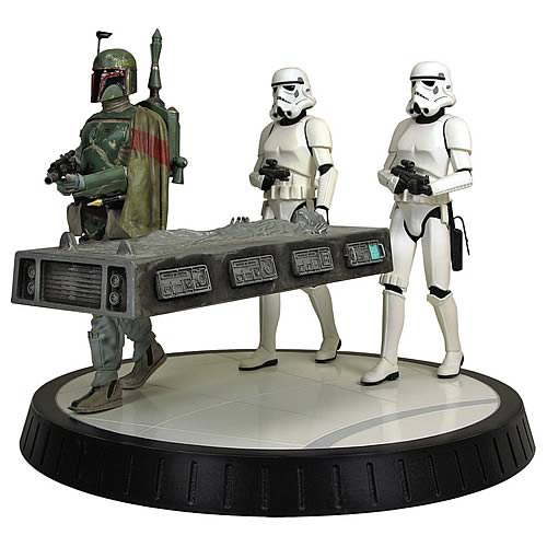 Star Wars Boba Fett with Han Solo in Carbonite Statue