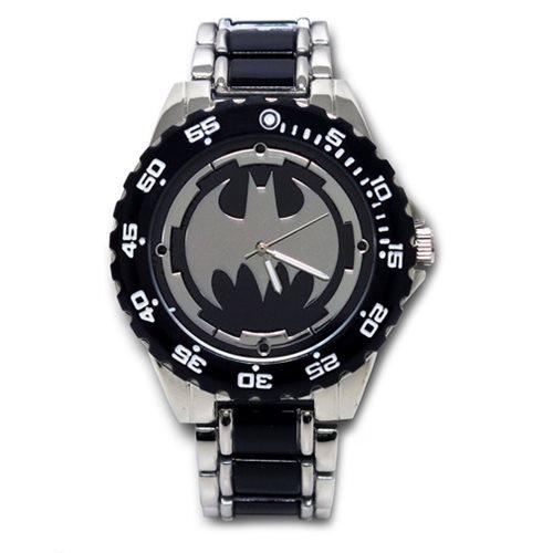 Batman Logo Watch with Black Metal Bracelet Band