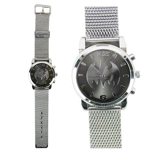 Batman Silvertone Mesh Strap Watch
