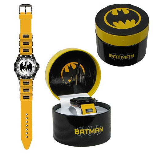 Batman Logo Watch with Yellow Rubber Strap