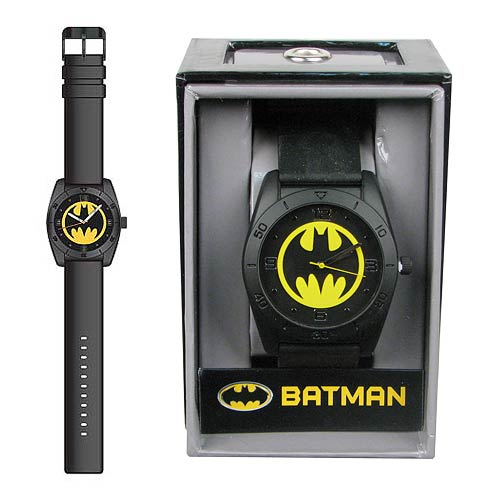 Batman Yellow Round Emblem Strap Watch