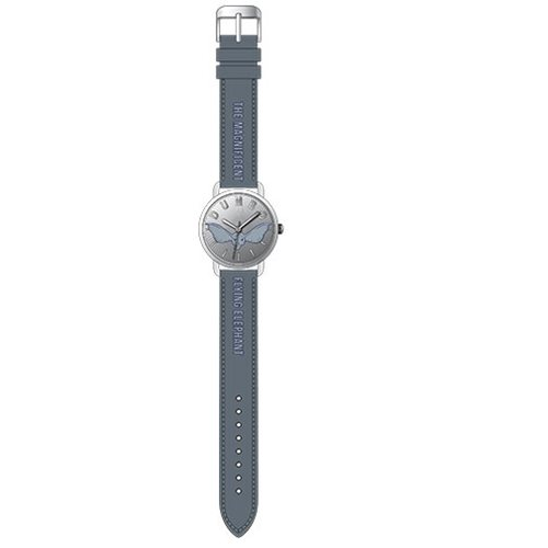 Dumbo Antique Silver Printed and Gray Stitched Strap Watch