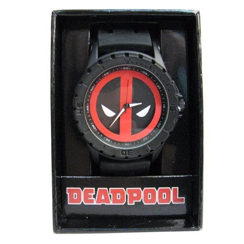 Deadpool Logo Black Rubber Strap Watch