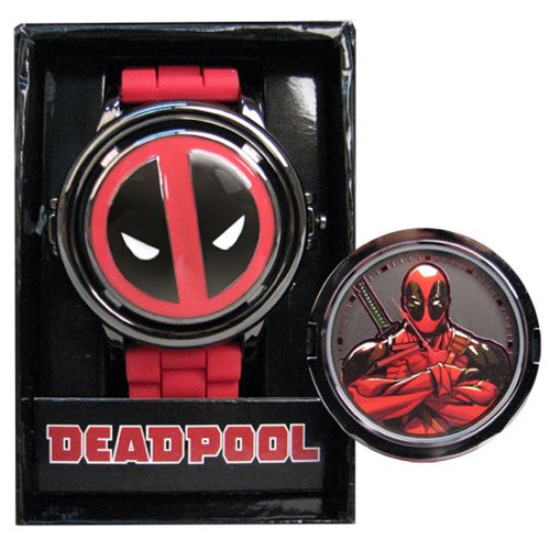 Deadpool Logo Spinner Red Strap Watch