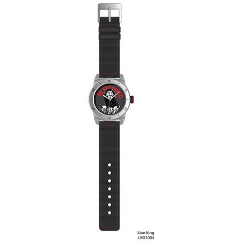 Lion King Be Prepared Scar with Hyenas Red Stitch Black Strap Watch