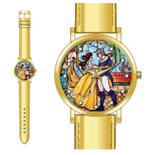 Beauyy and the Beast Stained Glass Strap Watch - Accutime ...