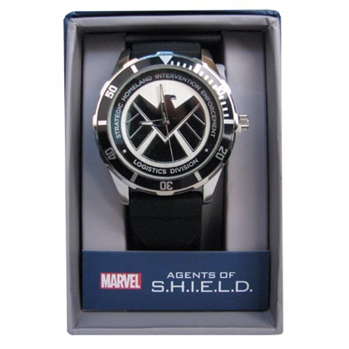 Agents of SHIELD Black Logo Watch with Black Silicone Strap