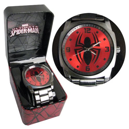 Spider-Man Gunmetal Symbol Red Dial Bracelet Watch