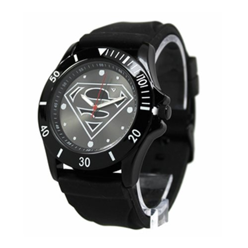 Superman Black Logo Watch with Black Rubber Strap