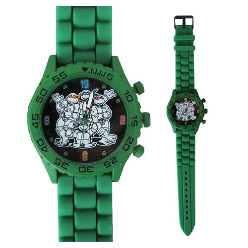 Teenage Mutant Ninja Turtles Group Green Rubber Strap Watch