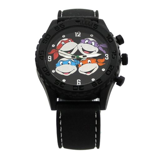 Teenage Mutant Ninja Turtles Heads Black Rubber Strap Watch