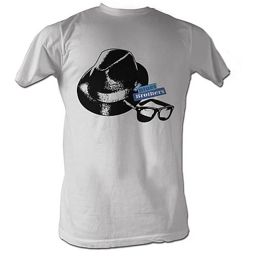 Blues Brothers Hat and Glasses White T-Shirt