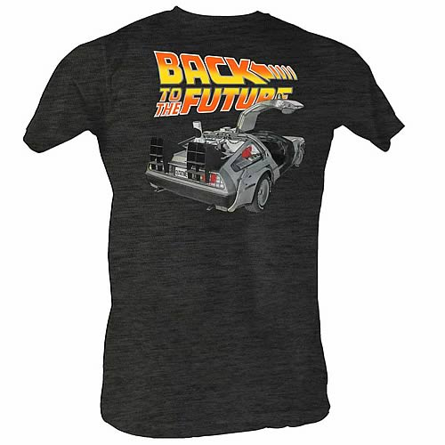 Back to the Future Car Open Charcoal T-Shirt