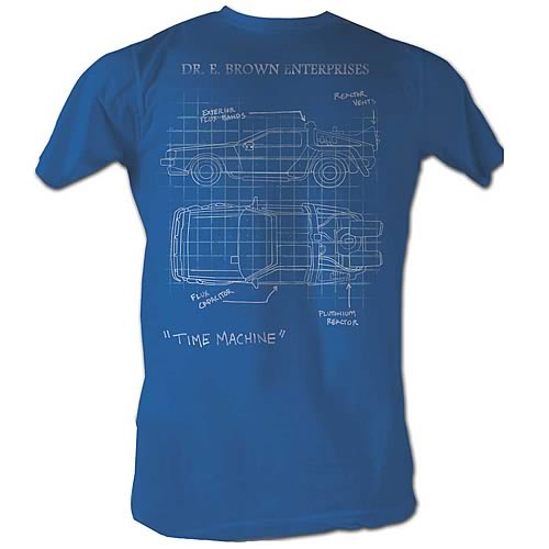 Back to the Future DeLorean Schematic Turquoise T-Shirt