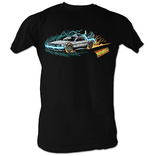 Back to the Future Into Time Painting Black T-Shirt