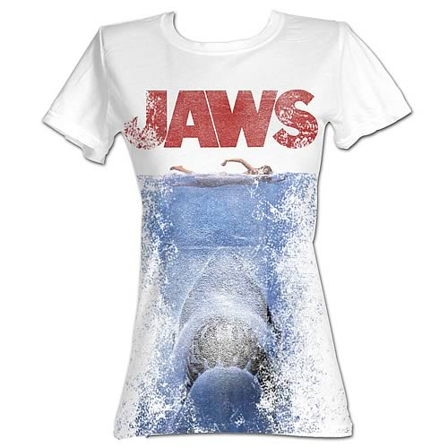 Jaws Movie Poster White Juniors T-Shirt