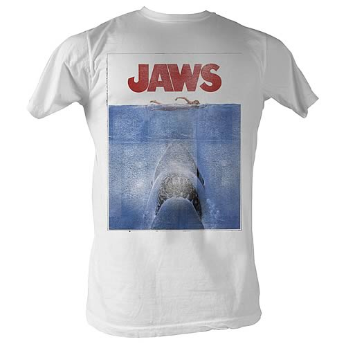 Jaws Movie Poster White T-Shirt