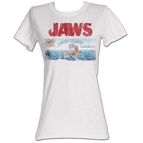 Jaws Amity Island Sign White Juniors T-Shirt