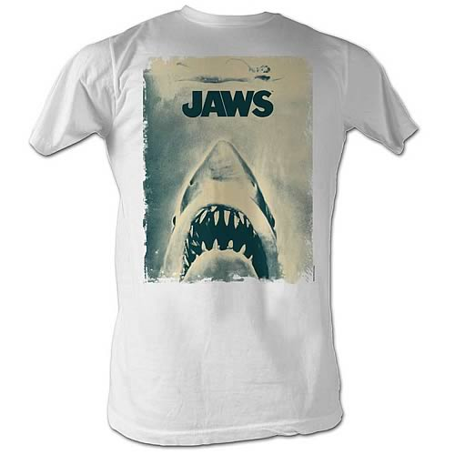 Jaws Distressed Poster White T-Shirt