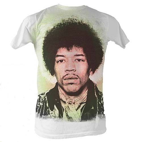 Jimi Hendrix Face Sublimation Print White T-Shirt