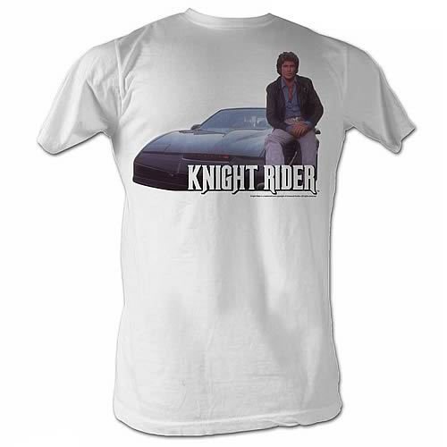 Knight Rider Mike and His KITT White T-Shirt