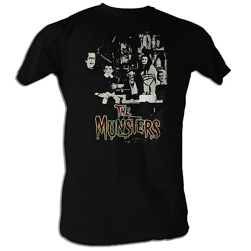 Munsters Family and Logo Black T-Shirt