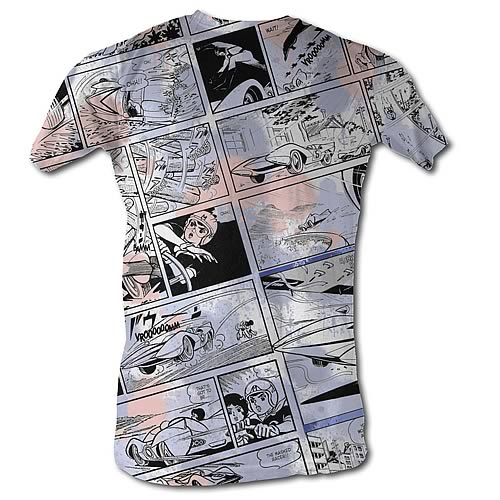 Speed Racer Comic Collage White T-Shirt