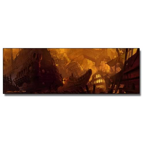 Pirates of the Caribbean Shipwreck City Concept Canvas Print