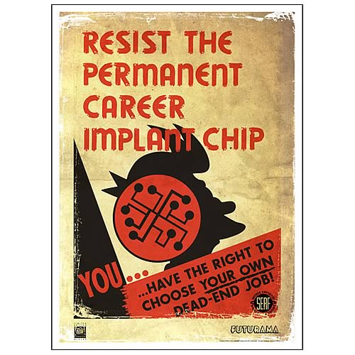 Futurama Resist Permanent Career Implant Chip Giclee Print