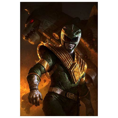 Power Rangers Green Ranger and Dragonzord Metal Print