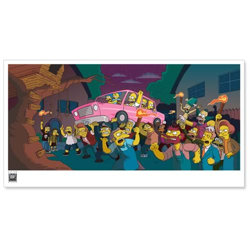 Simpsons Movie Angry Mob Paper Giclee Print