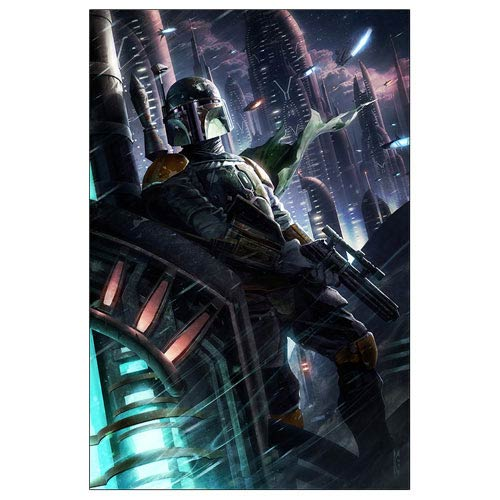 Star Wars Boba Fett Hunter in the Endless City Canvas Giclee