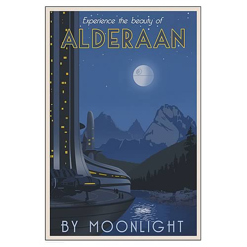 Star Wars Alderaan by Moonlight Paper Giclee Print