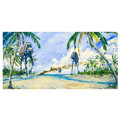 Star Wars Rogue One AT-ACT on the Shore Canvas Giclee Print