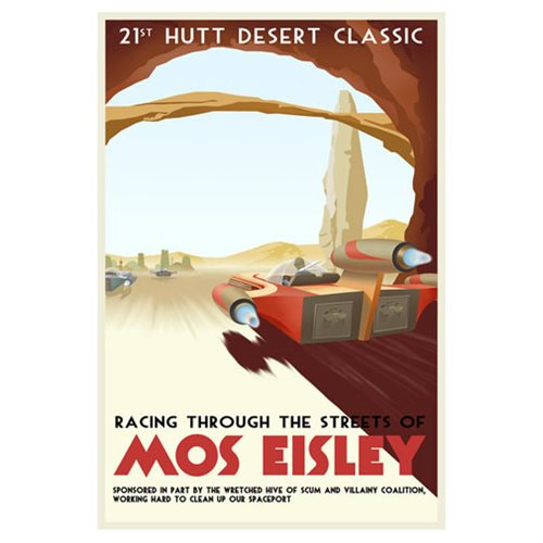 Star Wars Racing Through Streets of Mos Eisley Canvas Giclee