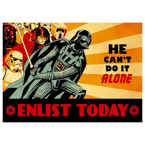 Star Wars Darth Vader Enlist Today Can't Do It Alone Giclee
