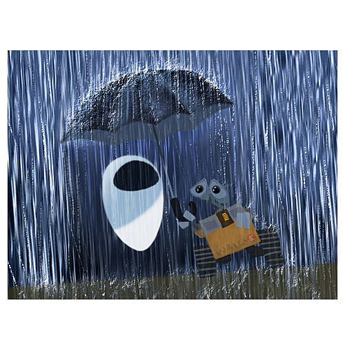 WALL-E Asleep in the Rain Giclee Print