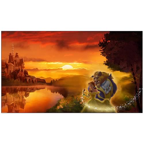 Disney Limited Beauty and the Beast Sunset Romance Giclee