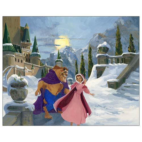 Beauty and the Beast Winter Play Canvas Giclee Print