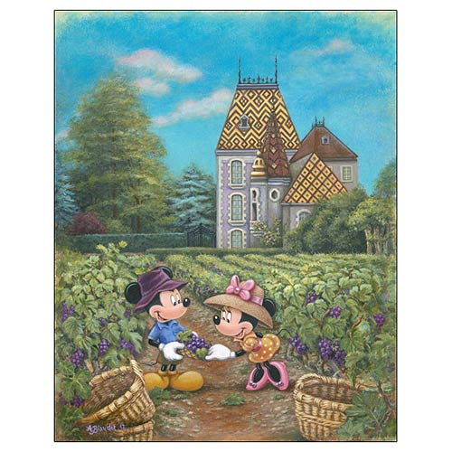 Mickey and Minnie Mouse Grapes in Burgundy Canvas Print