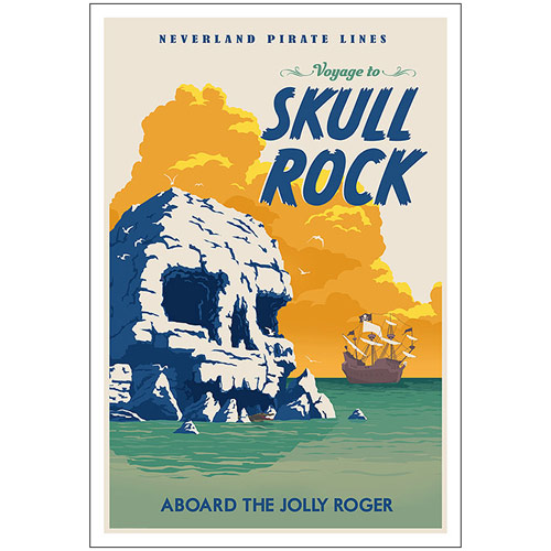 Peter Pan Skull Rock Disney Canvas Giclee Print