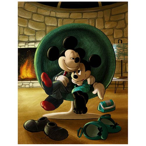 Mickey Mouse and Minnie Mouse Date Night Canvas Giclee Print