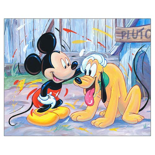 Mickey Mouse and Pluto Atta Boy Canvas Giclee Print