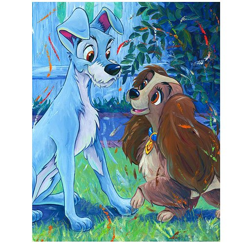Lady and the Tramp Puppy Love Disney Canvas Giclee Print