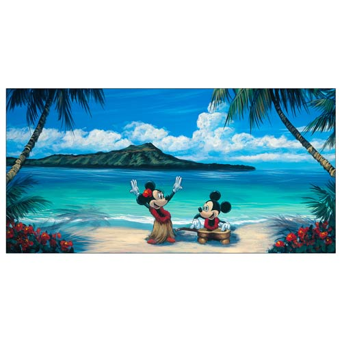 Mickey and Minnie Mouse Hawaiian Vacation Canvas Print
