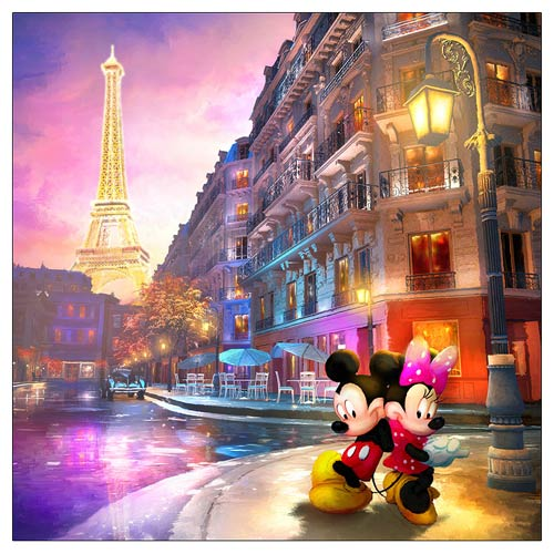 Mickey and Minnie Mouse Love in Paris Canvas Giclee Print