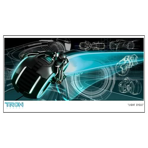 TRON Legacy Light Cycle Paper Giclee Print