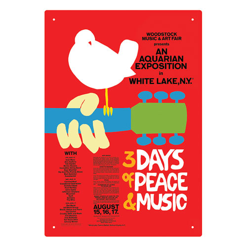 Woodstock 1969 Red Tin Sign