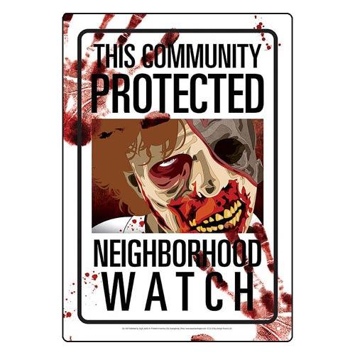 Neighborhood Watch Zombies Tin Sign