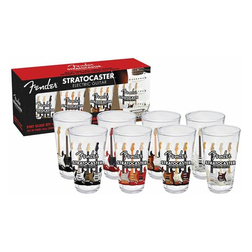Fender Stratocaster 16 oz. Pint Glass 4-Pack